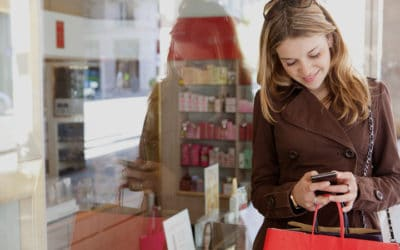 Most people use smartphones in stores